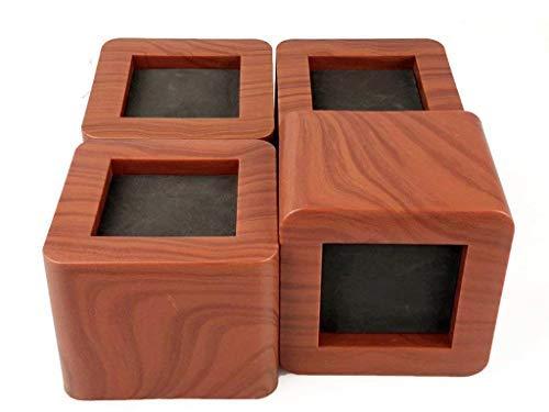 uyoyous 4er Betterhöhung Bed Riser Möbelerhöher, Möbelfüße Elefantenfuß aus Holz/Gummi Quadrat Elefantenfuß für Bett Tischbeine Möbel Sofafuss – Pack 4 Rotholz