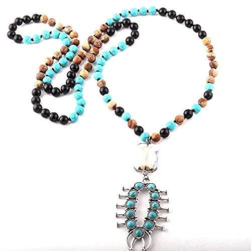 LKLFC Collar para Mujeres Hombres Joyería de Moda 108 Cuentas Multi Stone Anudado Crystal Blue Link Collares Pendientes para Mujeres CollarCollar Colgante Niñas Niños Regalo