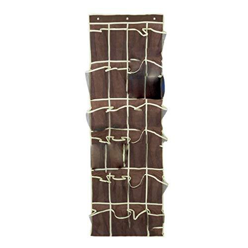 YJS 24 Mesh zakken opknoping over de deur schoen Organizer slaapkamer kast vak schoenen opslag houder, 150*45cm, Koffie Wit