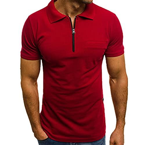 Hombres Slim Camisas Manga Corta Casual Jersey Sólido