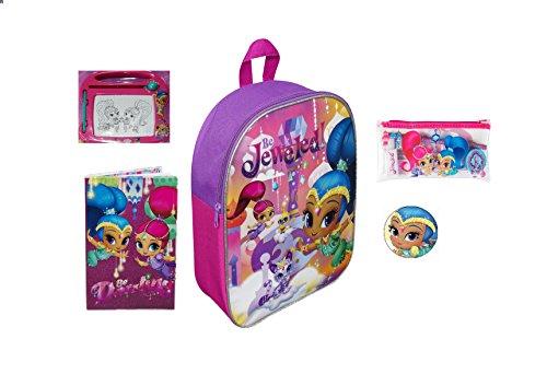 Shimmer and Shine Purple Girls Kids Be Jewelled Junior Backpack Notebook Pencil Case Toy Backpack Rucksack Bundle for Children/Toddler/Kids – 5 Piece