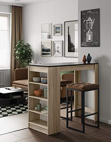 Temahome Aravis Table Bar Avec Rangements, Panneaux de Particules Mélaminés, Chêne/Noir, 115 X 50 X 102,7 cm (LxPxA)