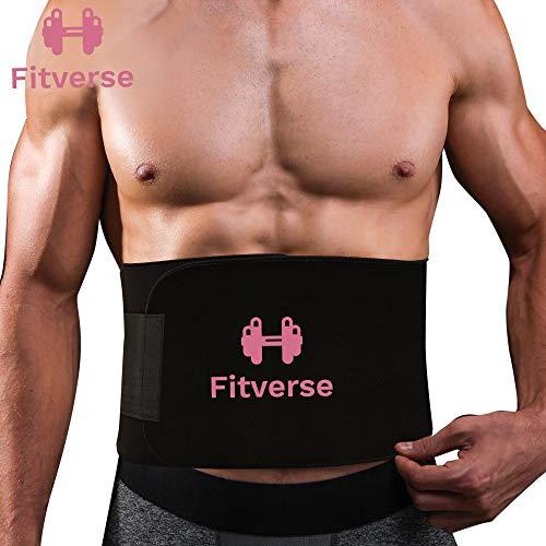 Fitverse Sweat Slim Belt for Fat Burning | Slimming Belt | Tummy Trimmer Exerciser | Waist Trainer for Men and Women(44inch x 8inch) (Black)