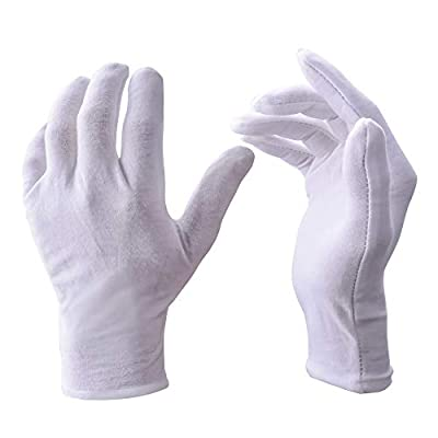 Zealor 12 Pairs White Cotton Gloves Work Gloves, Coin Jewelry Silver Inspection Gloves
