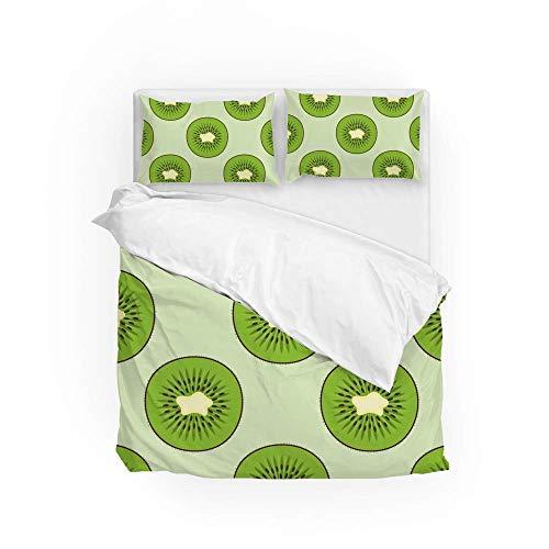 161 Soft Quilt Bedding Set Fresh Green Kiwi Slice Duvet Cover with 2 Pillowcases Set 3 PCS 260 x 220 CM, Super King