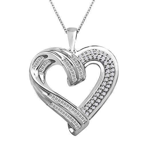 Ani's Collar de 1/2 quilates TW Sim Diamonds con colgante de corazón con cadena de 45,7 cm en oro blanco de 14 quilates