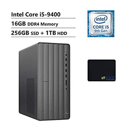 HP Envy Desktop Computer, 9th Intel Core i5-9400 2.90GHz, 16GB DDR4 RAM, 256GB PCIe Solid State Drive + 1TB HDD, WiFi, HDMI, DVD-RW, KKE Mousepad, Win10