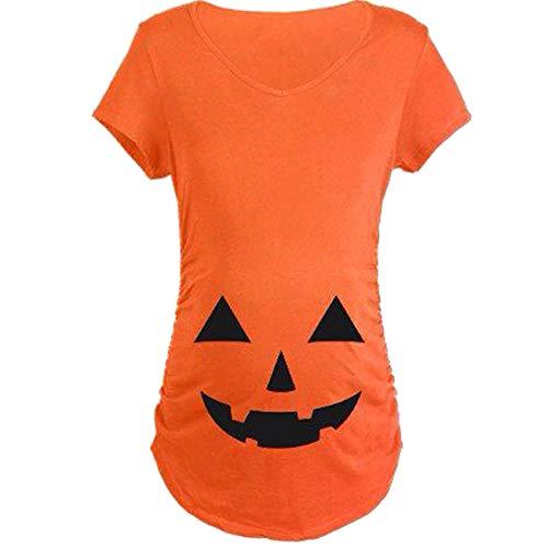 ShiyiUP Kürbis T Shirt Schwangere Bluse Lustige Top Halloween Mutter Bekleidung Shirt Oversized Shirt,XL