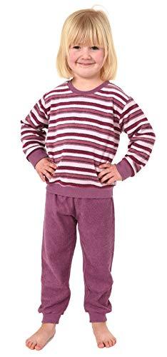 Süsser Mädchen Frottee Pyjama Schlafanzug mit Bündchen in Streifenoptik - 291 701 13 572, Größe:110, Farbe:Beere
