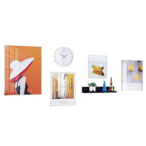 QJKai Set de 4 Marcos de Marco de Fotos Original,Uno 25x31cm, Dos 31x41cm, Uno 41x60cm,Oro El Plastico Marcos de Foto Multiples para Mesa o Pared