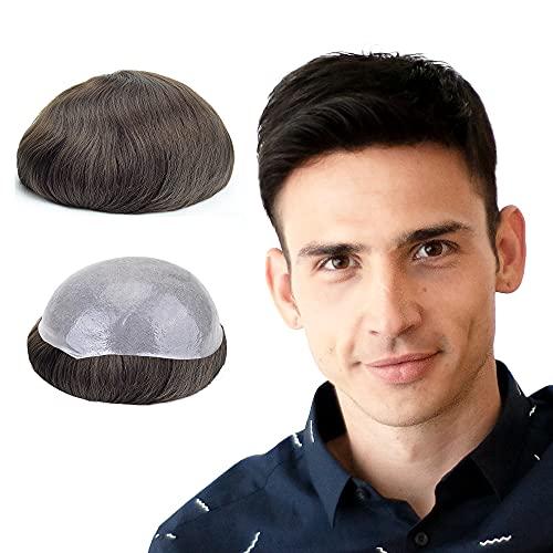 Lordhair Peluca Hombre 0.06MM Skin Rayita Frontal Todos V-Loop Nudos pelucas de cabello real Natural Humano Peluquin Hombre Tamaño de la Base 20x25CM Peluquines Para Hombres Densidad Media -130%