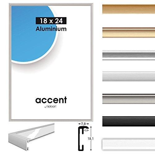 Alurahmen Accent, Wechselrahmen Alu,Bilderrahmen Alu, Farbe Silber matt, 30x40 cm