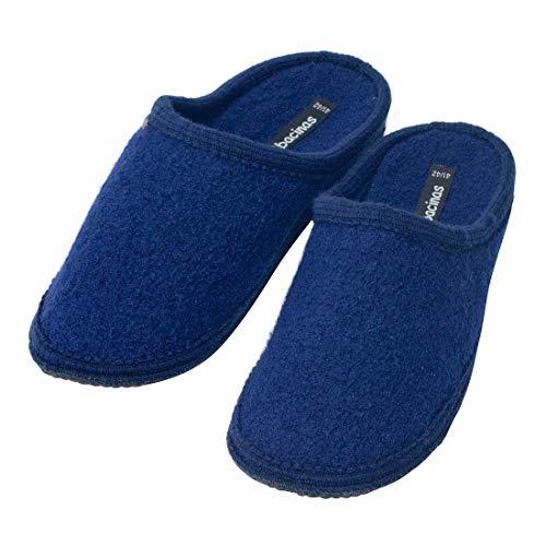 Japanwelt Filz-Hausschuhe Herren Dunkel-Blau - warme Slipper Pantoffeln 100% Schafswolle Wollwalk Filzsohle 47/48