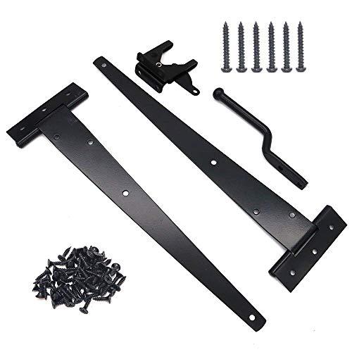 NUZAMAS - Juego de 2 bisagras para cobertizo (30,48 cm) con correa en T y cierre para puerta, bisagras para puerta de granero, color negro, herrajes forjados de hierro inoxidable
