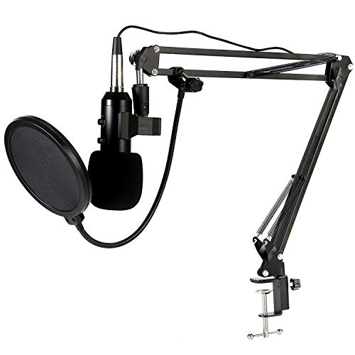 USB Condenser Microphone, Koolertron BM-900 Condenser Microphone Kit with Adjustable Microphone Suspension Scissor Arm, Shock Mount and Double-layer Pop Filter for Studio Recording and Broadcasting
