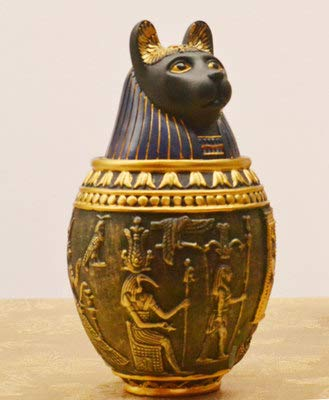 Cat and Dog urn Medium housed commemorating The Death of Egyptian Pharaoh Traditional Retro pet Ashes (Style 2,M)