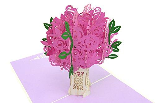PopLife Rosa Rosenbouquet Pop-Up-Karte, 3D-Blumenkarte für alle Anlässe - Valentinstag
