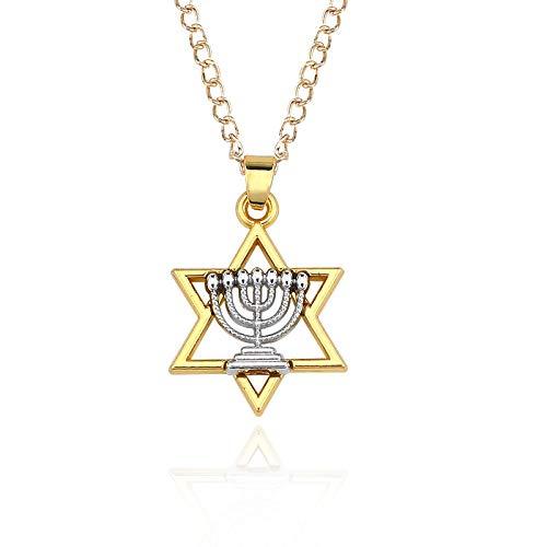 guodong Kreative Hohle fünfzackige Stern Kerzenhalter Kombination Halskette Persönlichkeit Gold und Silber zweifarbige Nähte Anhänger Schlüsselbein Kette