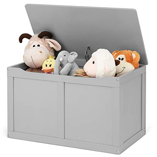 Costzon Wooden Kids Toy Storage Chest Organizer, Children Large Storage Cabinet Bench with Flip-Top Lid, 2 Safety Hinge, Toddler Room Organizer Box for Playroom, Home (Grey)