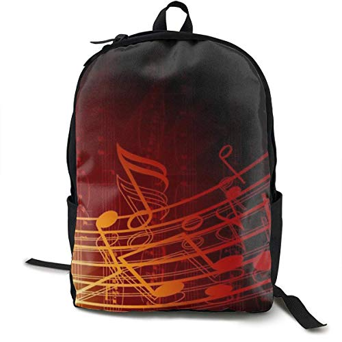 Red Flame Music Note Print Canvas Backpacks Classic Backpack for Adults,Older Children