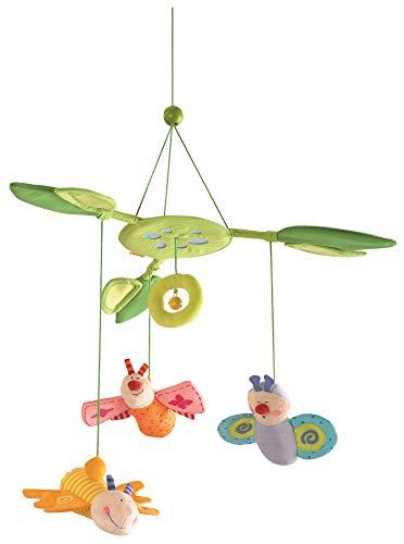 Haba 3735 - Mobile Blütenfalter, Baby-Mobile zum Aufhängen mit 3 abnehmbaren Schmetterlingen, Blätterdach mit Glöckchen und Spiegelfolie, Baby-Spielzeug ab 6 Monaten