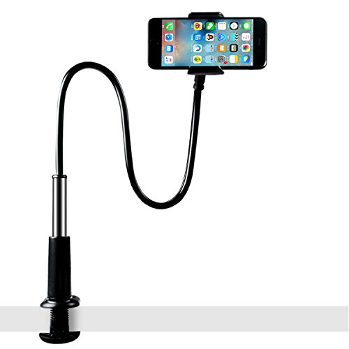 licheers Flexible Gooseneck Phone Holder, licheers Lazy Bed Holder Phone Stand for 3.5-7 Inch Devices, Overall Length 35.4In (Black)