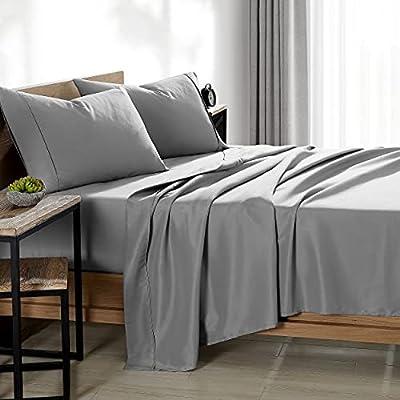 Bare Home Full XL Sheet Set - Premium 1800 Ultra-Soft Microfiber Full Extra Long Bed Sheets - Double Brushed - Full XL Sheets Set - Deep Pocket - Bed Sheets & Pillowcases (Full XL, Light Grey)