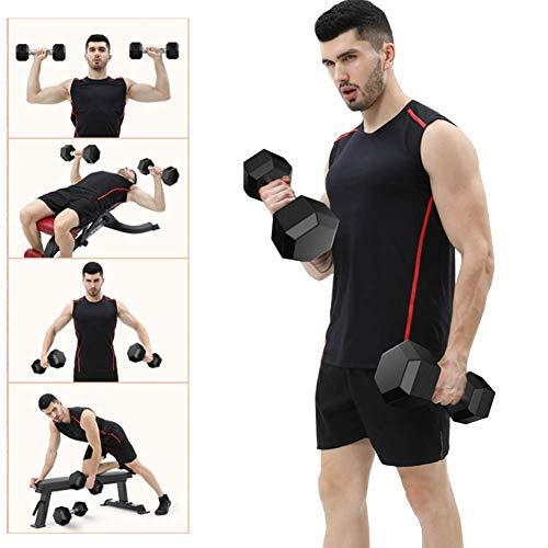 XIAOFEI 2020 Hantel-Fitnessstudio, 10-40 lb Feste sechseckige plattierte gummierte Hanteln Gewicht Langhantel-Fitnessstudio Gewicht Hantel Frühling Neu,20lb