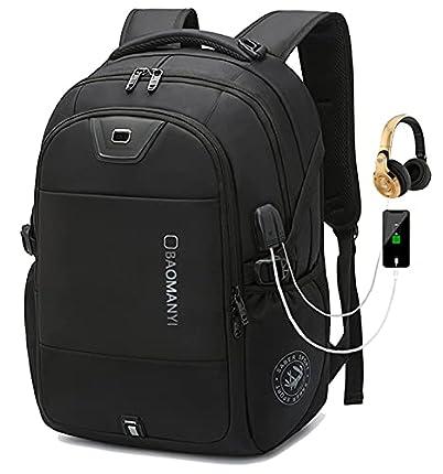 Mochila Escolar Juvenil, Mochila para portátil, Hombre Mochila Escolar con Puerto de Carga USB Gran Capacidad (05 Negro, 17,3 Pulgadas)