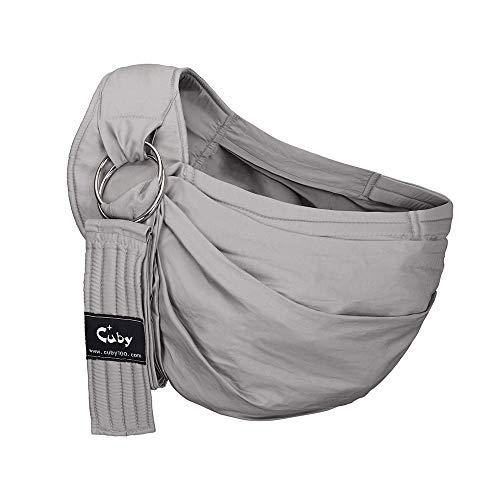 CUBY- Einstellbar Babytragetüch - 100% Bio Baumwolle - für Neugeborene Kleinkinder bis 15 KG - Ergonomische Babytragen (Grau)