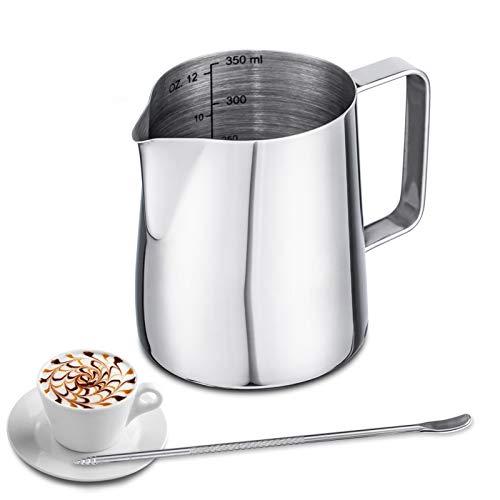 Emsmil 350ml Brocca da Latte Art Professionale Decor Lattiera con Marchio di Misurazione e Caffè Latte Art Pen Acciaio Inox Lattiere Bricco per Cappuccino da Barista Espresso Making