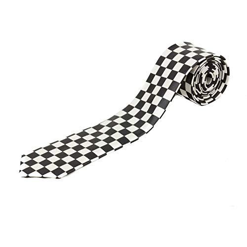 Cravate à carreaux noir et blanc style tatouage