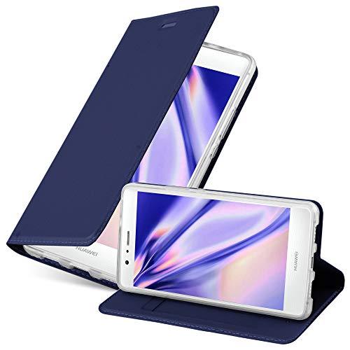 Cadorabo Funda Libro para Huawei P9 Lite en Classy Azul Oscuro – Cubierta Proteccíon con Cierre Magnético, Tarjetero y Función de Suporte – Etui Case Cover Carcasa