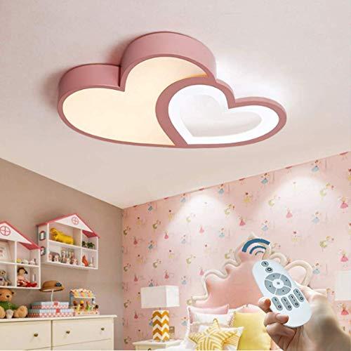 LED Deckenleuchte Modern Warm Romantisch Deckenlampe Kreative Designer Herzform Acryl Dimmbar Mit Fernbedienung Mädchen Deckenlicht Kinderlampe Mädchen Schlafzimmer Decken Leuchte,Rosa