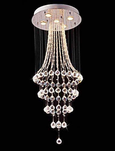 Saint Mossi Chandelier Modern K9 Crystal Raindrop Chandelier Lighting Flush Mount LED Ceiling Light Fixture Pendant Lamp for Dining Room Bathroom Bedroom Livingroom 5 GU10 Bulbs Required H43' X D18'