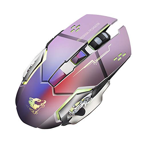PowerFul-LOT Souris de Jeu Optique sans Fil à LED X8 Rechargeable Ergonomique MéTal Muet 2.4G Ergonomique USB Rétroéclairée (Gris)