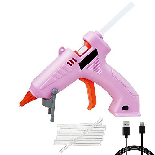 Pistola per colla a caldo senza fili, ricaricabile tramite USB, mini pistola per colla a caldo con bastoni per lavori fai da te, casa, scuola