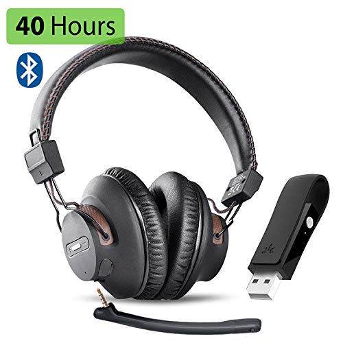 Avantree DG59M Wireless Gaming Headphones Set with Detachable Boom Mic and Bluetooth USB Audio Dongle for PS4, PC, Laptop, Computer, Nintendo Switch,