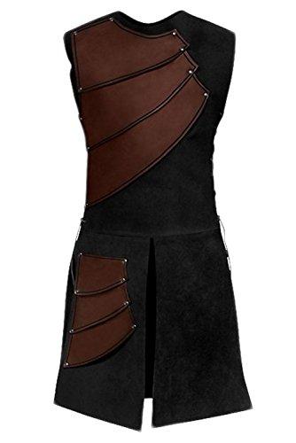 Jerho Túnica Medieval con Cordones, túnica sin Mangas con