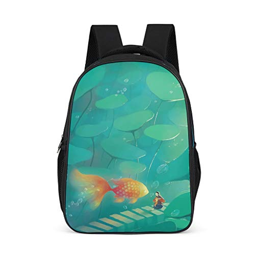 Zhenxinganghu Casual Primary School Bookbag Goldfish Lotus Leaf Shoulder Backpack 12.5 x 7.1 x 16.5 Inches Travel Bags Children Girls Daypack, Polyester, grey, l32*w18*h42cm