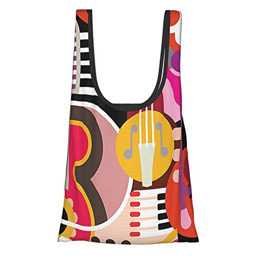 T-shop Music Decor Complex Graphic With Various Musical Properties Icons Keyboard Festival Piano Party Art Design Multi Reusable Fold Eco-Friendly Shopping Bags
