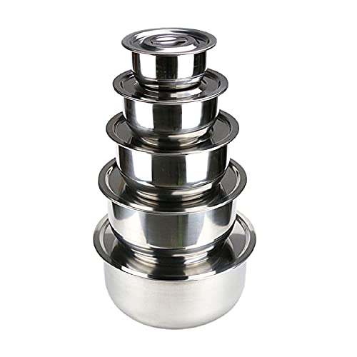 Ruiqas 5pcs Premium Nesting Metal Mixing Bowls Set with Airtight Lids Stainless Steel Refrigerator Food Storage Organizers for Salad Cooking Baking