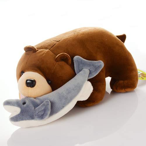 北海道限定ベア 木彫り熊風 鮭喰くまさんぬいぐるみ ソフトタイプ