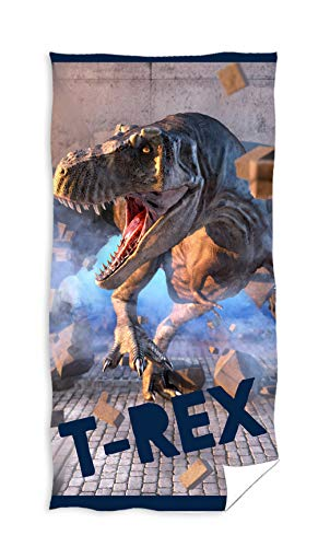 Carbotex Jurassic World handdoek 70x140 cm katoen handdoek strandlaken dinosaurus T-Rex Dino