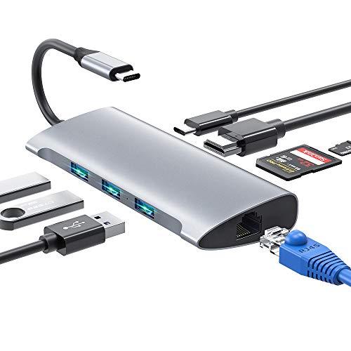 USB C Hub, 8 IN 1 USB Typ C Adapter mit 4K HDMI & RJ45, 3 USB 3.0 Ports, SD/TF Kartenleser & USB C Stromanschluss USB C Adapter Kompatibel für MacBook Pro/Air, Samsung, Huawei, USB C Geräte