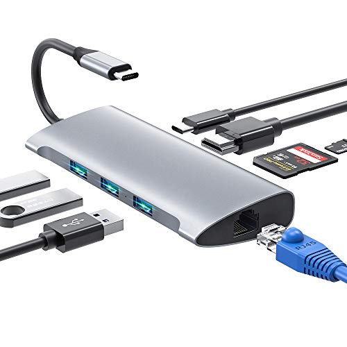 USB C Hub, 8 IN 1USB Typ C Adapter mit 4K HDMI & RJ45, 3 USB3.0 Ports, SD/TF Kartenleser & USB C Stromanschluss USB C Adapter Kompatibel für MacBook Pro/Air, Samsung, Huawei, USB C Geräte