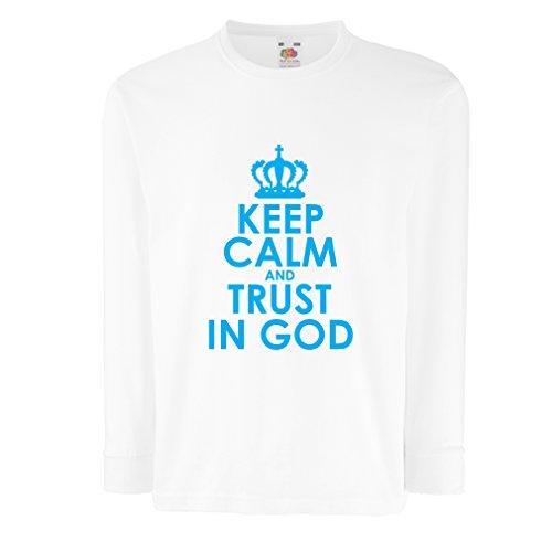 lepni.me T-Shirt Bambini/Ragazze Fiducia in Dio,Gesù Cristo Ti AMA,Abbigliamento Cristiano (3-4 Years Bianco Blu)
