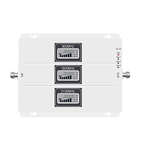 Lintratek 70 dB 900 1800 2100MHz Tri-Band AGC Signal Booster 2G/3G/4G GSM UMTS LTE Cell Phone Signal Amplifier Repeater for Home/Office Band 1 Band 3 Voice & Data LCD Display FCC