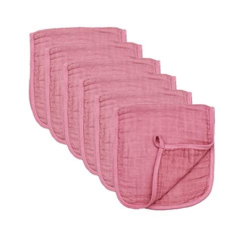 Gergxi 6 Pcs Baby Muslin Burp Cloths Solid Color Absorbent Saliva Towel Feeding Bibs