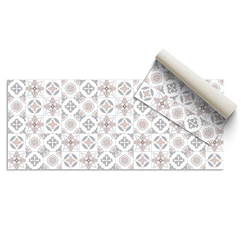 DON LETRA Alfombra Vinílica Baldosas, 140 x 50 cm, Color Rosa, Vinilo PVC Estampado, Grosor 2.2 mm, ALV-087